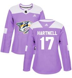 Women's Adidas Nashville Predators #17 Scott Hartnell Authentic Purple Fights Cancer Practice NHL Jersey
