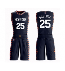 Men's New York Knicks #25 Reggie Bullock Swingman Navy Blue Basketball Suit Jersey - City Edition